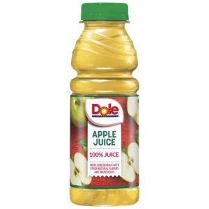 BEVERAGES & MIXERS- APPLEJUICE- Dole 100% Juice Plastic Bottles 12/15.2oz