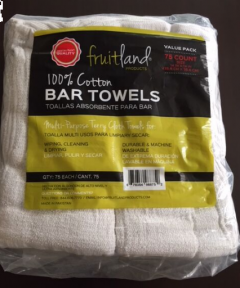 TERRY TOWELS- White Bar Fruitland 75ct